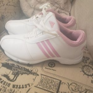 Women's Adidas golf shoes size 6 pink and white